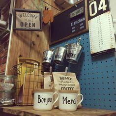 ペグボード/マグカップ/ハンドメイド/ウェルカムプレート/板壁/hal36さん♡…などのインテリア実例 - 2015-04-07 16:22:23 | RoomClip(ルームクリップ)
