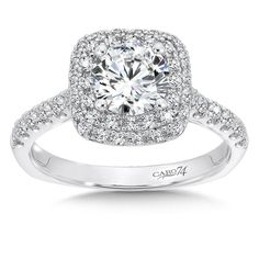 Caro74 - Double Cushion Halo Engagement Ring with Side Stones in 14K White Gold (0.58ct. tw.) #CR615W