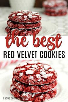 Red Velvet Cookies Recipe - Easy Red Velvet Cake Mix Cookies This Red Velvet Cookies Recipe is easy to make because you only need 4 ingredients. Easy Red velvet crinkle cookies are the best cake mix cookies! Red Velvet Cookie Recipe, Easy Red Velvet Cake, Red Velvet Muffins, Red Velvet Desserts, Red Velvet Recipes, Red Velvet Crinkles, Red Velvet Crinkle Cookies, Cake Mix Recipes, Easy Cookie Recipes