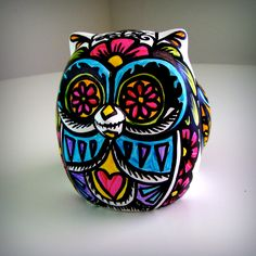 Ceramic Owl Painted Day of the Dead Tattoo Hearts Flowers  Folk Home Decor Sculpture  Black White Pink Green Yellow Blue by sewZinski