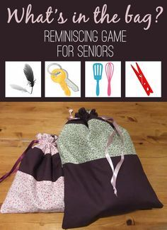 Reminiscence game for the elderly and those with dementia. Chose a colorful bag, something that catches the eye, silk, or any other fabric that feels good to the touch. You don`t want to be able to see through the bag. Find random objects, such as kitchen utensils, keys, padlock. Ideal reminiscing game for seniors.