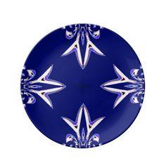 Navy Blue White Fractal Plate