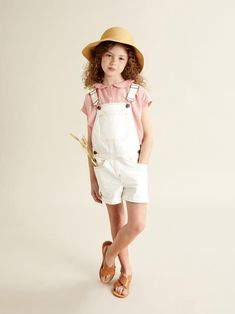Girl's Rosalie dungarees - Cream - 2 Low Boots, Back Patch, Dungarees, Metal Buttons, Stretch Denim, Cream, How To Wear, Vintage, Girls
