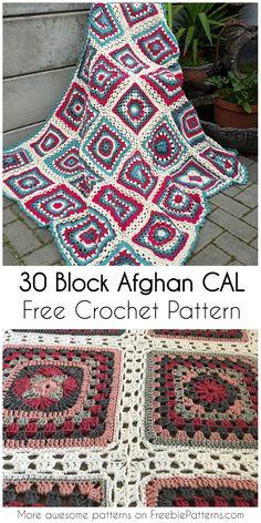 30 Block Afghan CAL - [Free Crochet Pattern] #crochet #freecrochetpattern #afghanblock