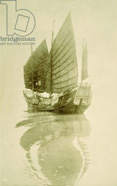 A Japanese junk sails on the Pacific Ocean, 1920 (b/w photo)