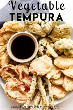 Delicious Vegetable Tempura has a light, crisp outer coating that isn't overly greasy. This classic Japanese dish can be made at home with restaurant-quality results. It makes a great appetizer or side dish! #vegetable #tempura #Japanese #appetizer #recipe