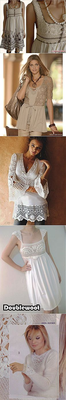Комбинируем ткань с вязаными деталями в одежде | Домохозяйки