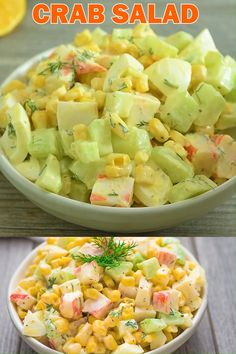 Salmon Recipes Discover Imitation Crab Salad Imitation Crab Salad quick and easy crab salad made with crunchy cucumbers sweet corn and hard-boiled eggs. Perfect for lunch dinner or on a sandwich! If you make this recipe share some photos! I always check! Cucumber Recipes, Pasta Salad Recipes, Healthy Salad Recipes, Seafood Recipes, Cooking Recipes, Recipes Dinner, Cucumber Salad, Diet Recipes, Seafood Meals