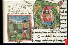 Detail of historiated initial a miniature with a shepherd.   Origin:Germany or Austria (Melk?)