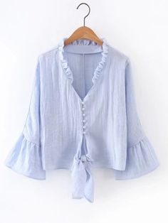 Sexy Ruffles V-neck Blouse Women 2017 Summer Fashion Bell Sleeve Blouses Shirts Women Elegant Vintage Short Tops Blusas Female Blouse Styles, Blouse Designs, Short Tops, Corsage, Shirt Blouses, Blouses For Women, Designer Dresses, Cool Outfits, Clothes