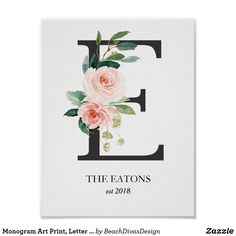 Thinking about having a floral themed nursery for your baby girl? Check out this Letter E Monogram Watercolor Peach Florals Nursery Poster! It has an elegant and classic typeface with beautiful peach flowers.