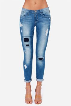 Patchwork skinny jeans - $62
