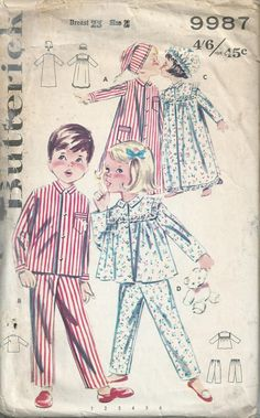 Children's Pyjamas and Nightgown - 1960s - Butterick Pattern No.9987.