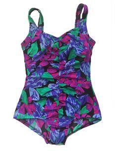 28dee2b6d4 Maxine of Hollywood Vintage 1980's One Piece Swimsuit / Plus Size Swimwear  / Plus Size Purple Swimsuit