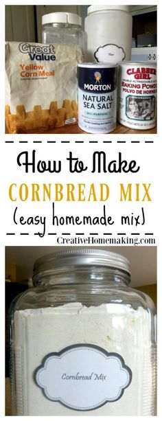 You can quickly and easily make your own cornbread from this homemade cornbread mix recipe. You can quickly and easily make your own cornbread from this homemade cornbread mix recipe. How To Make Cornbread, Homemade Cornbread, Cornbread Mix, Cornmeal Mix Cornbread Recipe, Homemade Dry Mixes, Homemade Spices, Homemade Seasonings, Homemade Food, Do It Yourself Food