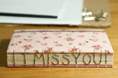 """I Miss you""  coptic stitch words binding #handmade_books #bindings"
