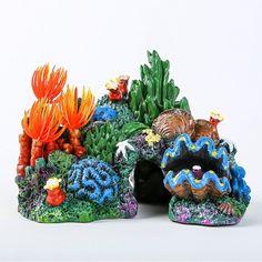 2 Pack. Tfwadmx Aquarium Coral Decoration Fish Tank Hiding Mountain Cave Betta Fish Hideaway Rock Coral Reef Ornament