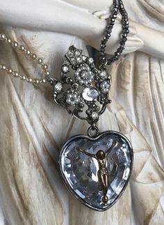 heart of glass  necklace sacred heart ex voto rhinestone