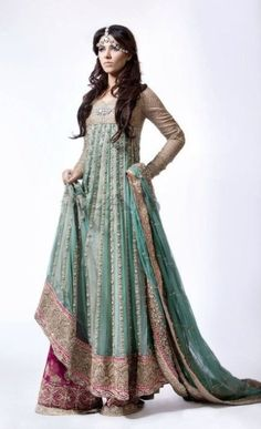 Royal looking Anarkali style long kameez. I love these longer kameez models. LOVE.