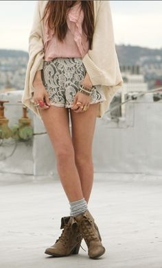 Lace shorts + booties= get in my closet