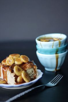 bananas foster croissant bread pudding  only thing missing in the recipe is pecans OMG