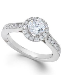 Estate Halo by Marchesa Certified Diamond Engagement Ring in 18k White Gold (1-1/4 ct. t.w.) | macys.com