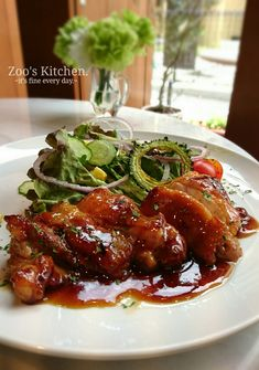 Survive the summer with rich stamina! Teriyaki with chicken thighs ♡ Recipe - Chicken - レシピ Japenese Food, Main Dishes, Side Dishes, Dinner Today, Chicken Thigh Recipes, Recipe Chicken, Asian Recipes, Ethnic Recipes, Daily Meals