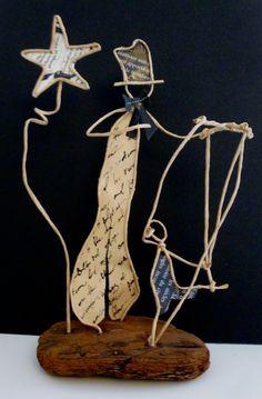 Le marionnettiste - figurines en ficelle et papier