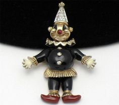 Mouse over image to zoom    Have one to sell? Sell it yourself  Brooch Pin Vintage PANETTA Articulating Clown Enamel Rhinestone