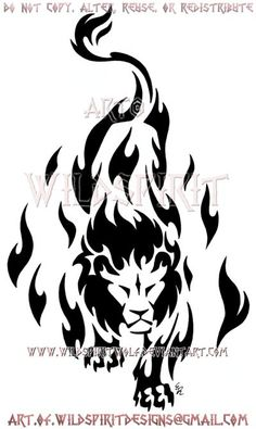 Prowling Flame Lion Tribal Design by WildSpiritWolf on DeviantArt Current Residence: My Den Favourite genre of music: Celtic Lion Tribal, Tribal Animal Tattoos, Tribal Lion Tattoo, Tribal Drawings, Tribal Animals, Lion Tattoo Design, Arte Tribal, Tribal Tattoo Designs, Tribal Art