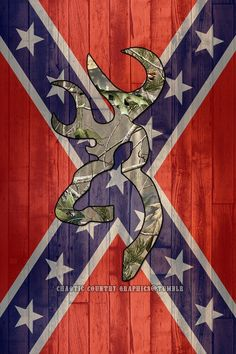 Confederate Flag with camo buck mark
