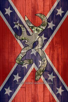 Confederate Flag with camo buck mark