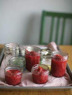 Easy Rhubarb Jam - Pink never seemed so pretty. Or so easy peasy. These fetching rhubarb preserves rely on just four ingredients and an occasional stir. No prior canning experience required. Rhubarb Preserves, Rhubarb Jelly, Great Recipes, Favorite Recipes, Popular Recipes, Good Food, Yummy Food, Jam And Jelly, Spring Recipes