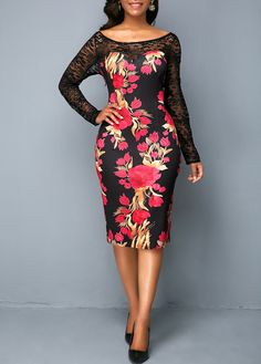 381a4299511 Flower Print Back Slit Lace Panel Sheath Dress