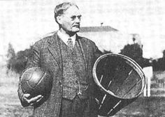 James Naismith holding a ball and a peach basket, the first basketball equipment. If you've ever thought lacrosse & basketball have some similarities in tactics & strategy. James Naismith played lacrosse in Montreal. (for McGill, I think) First Basketball Game, Ku Basketball, Basketball History, Soccer Ball, Basketball Shooting, Basketball Birthday, Basketball Players, James Naismith, Fun Facts About Canada