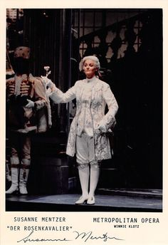American mezzo-soprano (b. 1957), signed photo, shown as Oktavian, in Der Rosenkavalier. Size is 5 x 7.25 inches, in excellent condition.