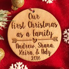 Personalized First Christmas as a Family Ornament - Personalized Wood Ornament, Family Christmas, Adoption Ornament, Wedding Gift, Adopted by on Etsy christmasinheavenornament Babies First Christmas, Family Christmas, Christmas Time, Christmas Ideas, Xmas, Easy Ornaments, Wood Ornaments, Holiday Crafts, Holiday Fun