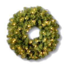 This lush green 24 in Norwood Fir Pre-lit Wreath with 50 bright lights is the perfect way to get started on holiday decorations.