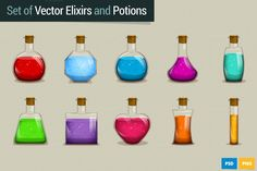 Set of Vector Potions and Elixirs by iamwowu on Creative Market