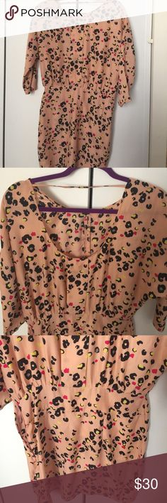 Silence+Noise funky animal print dress Funky dress worn once. Satin type material. Miniskirt bottom and more of a loose fit on top. Scoop back but you can still wear bra. Love it just too fat for it. Urban Outfitters Dresses