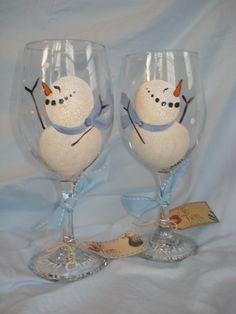 Hand Painted Snowmen Wine Glasses by samdesigns22 on Etsy