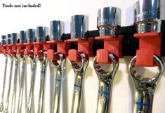 """Image result for Wall Mounted 3/8"""" Drive Socket & Wrench Organizer - Red"""