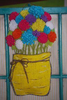 Burlap Flower Pot Door Hanger  MOTHER'S DAY by FeltandFancy, $20.00