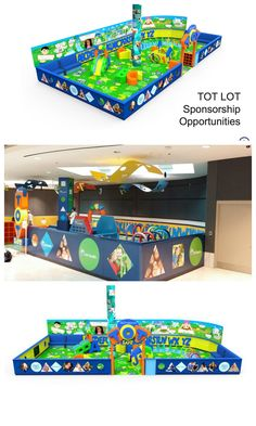 Our computer aided renditions of the Tot Lot we did for GGP Westroads and the actual lot.