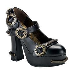 Demonia DEMON-29 Black Steampunk Platform Mary Jane - Demonia Shoes