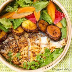 Banana Leaf Pomfret. Pomfret Fish, Cobb Salad, Menu, Banana, Dishes, Food, Menu Board Design, Tablewares, Essen