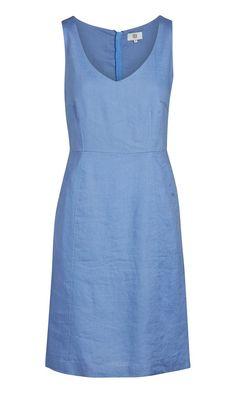 Kleid blau leinen
