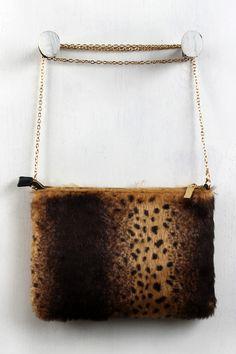 Cheetah Faux Fur Clutch