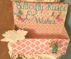 Butterfly Kisses & Wishes Guest Advice Box Birthday Party Wedding Bachelorette Bridal Shower Bride to be baby shower graduation Retirement quinceanera wedding advice for bride and groom centerpiece butterflies sweet sixteen graduate engagement anniversary get well soon https://www.etsy.com/listing/451954502/butterfly-kisses-wishes-guest-advice-box
