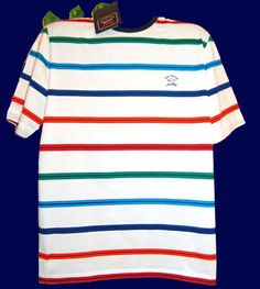 Paul & Shark Yachting AUTHENTIC Men Italy Cotton Striped T-Shirt Size L $185 #PaulSharkYachtingAUTHENTIC #GraphicTee